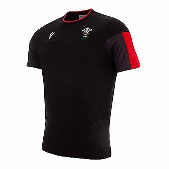 2020-2021 ויילס רשמי פולי כותנה נסיעות חולצה (שחור)