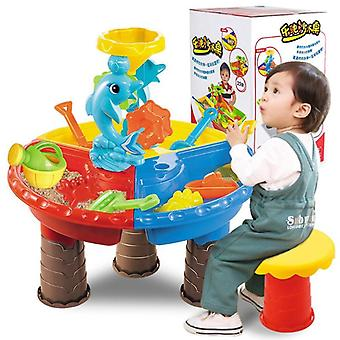 Outdoor Summer Beach Sandpit Toy, Sand-bucket Water/ Wheel/ Table Learning
