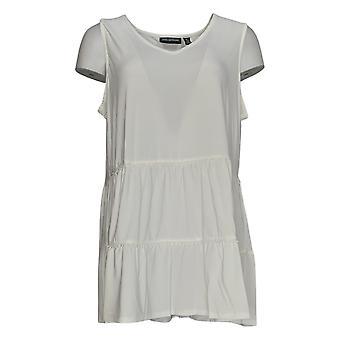 Nina Leonard Women's Top Sleeveless V-Neck Tiered Tunic White 691-492