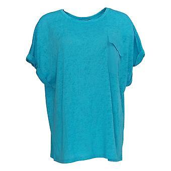 DG2 by Diane Gilman Women's Top XL Knit Short Sleeve Pocket Tee Blue 697-858