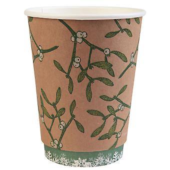 Double Wall Christmas Cups with Mistletoe Design 8oz
