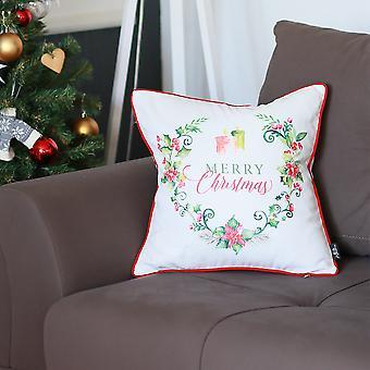 إكليل عيد الميلاد مع الزهور وغطاء وسادة النص الزخرفية