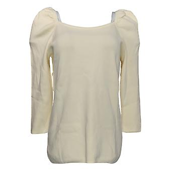 All Worthy Hunter McGrady Women's Sweater Puff Sleeve Ivory A383789