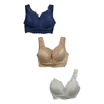 Rhonda Shear Azul/ Beige/ Blanco Bra Set Floral Encaje Alambre Gratis 683-778