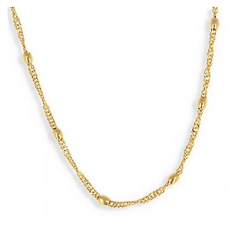 Singapore Gold Plated Collar With Oval Ball 45cm
