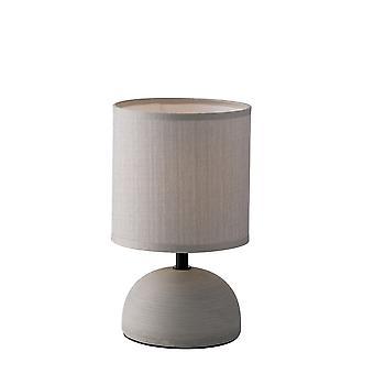 Keramische tafellamp met stoffen tint, grijs, E14