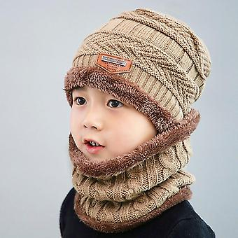 Winter Knitted Hat Ring Scarf Sets, Kids Warm Baby Plus Velvet Thick Soft Cap,