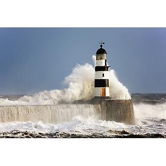 Seaham Teesside England Waves Crashing Against A Lighthouse PosterPrint