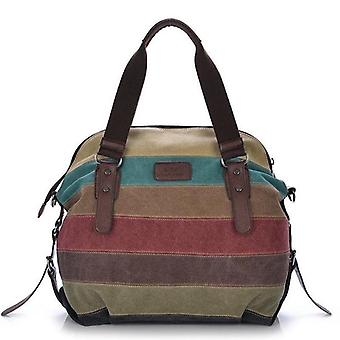 Canvas Totes Striped Handbag And Shoulder Casual, Crossbody Bag (rainbow (30cm
