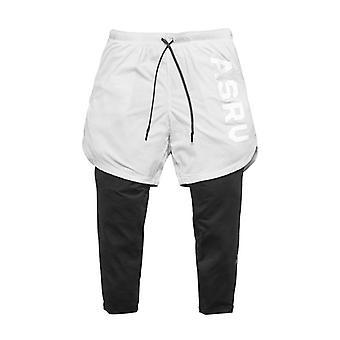 2in1 Men's Calf-length Gyms Fitness Tight Elastic Pants