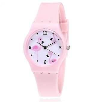 New Silicone Candy  Color Student Watch Girls Clock Fashion Flamingo