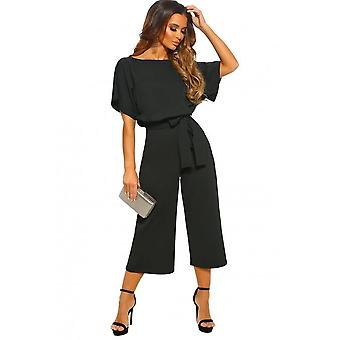 Chic Black Always Belted Culotte Jumpsuit