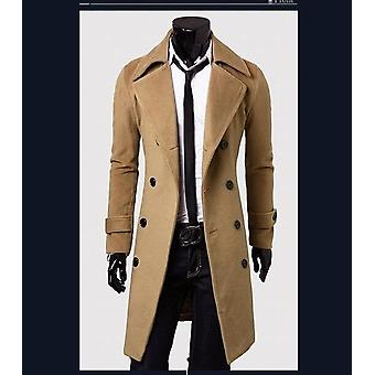 Double Breasted Coat, Lengthened Simple Luxury Wool Jacket