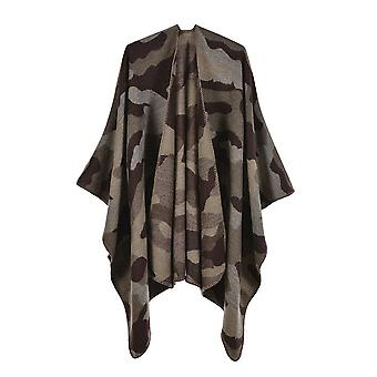 Women's Autumn And Winter Plus Size Camouflage Brown Warm Scarf Blanket Shawl