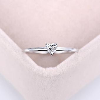 Minimalist Sweet Heart Shape Zircon Thin Finger Proposal Party Fashion Jewelry