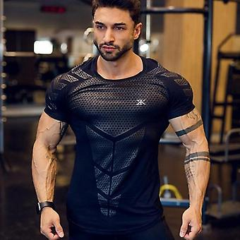 Compression Quick Dry T-shirt Men, Running Sport Skinny Short Tee, Male Gym