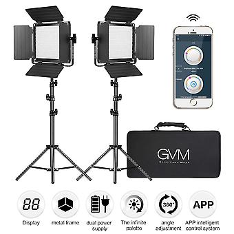 Gvm 560 led video light, dimmable bi-color 2 packs photography lighting with app intelligent control