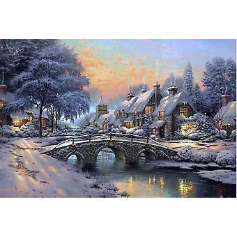 SuperPower 1000 Piece Winter Water Bridge Oil Painting Landscape Wooden Jigsaw Puzzle Toys