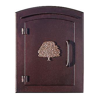 "Manchester No-Locking Column Mount Mailbox With ""Decorative Oak Tree Logo"" En Cobre Antiguo"
