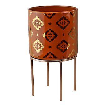 Small Kasbah Design Ceramic Planter, Orange