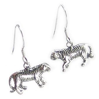 Tiger Sterling Silver Örhängen ,925 X 1 Par Stora Katter Örhängen