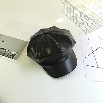 Pu Leather Winter Fashion Octagonal Casual Vintage Hats Newsboy Cap (noir)