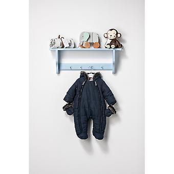 The Essential One Baby Fur Trim Navy Snowsuit