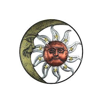Three Tone Metal Art Celestial Sun and Moon Indoor Outdoor Wall Hanging 20 Inch Diameter