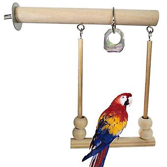 Bird Swing Toy Wooden Parrot Perch Stand Playstand With Chewing Beads Cage