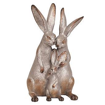 Straits Rabbit Family 30cm Grey Outdoor Garden Ornament
