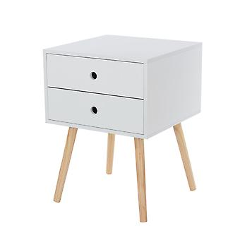 Portal scandia, 2 drawer & wood legs bedside cabinet