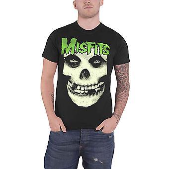 Misfits T Shirt Jarek Skull Glow in the Dark Band Logo Official Mens New Black