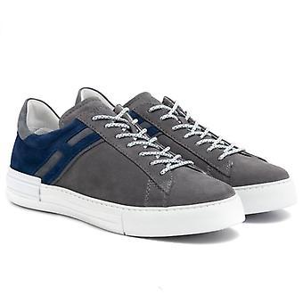 Sneakers Uomo Hogan Rebel Grigia E Blu In Camoscio