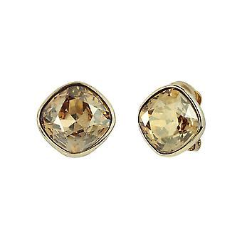 Traveller Clip Earrings -  Gold plated Swarovski Golden Shadow  - 155590