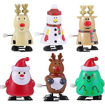 DZK Christmas Wind-Up Toys Funny Clockwork Toys Santa Snowman Elk Walking Toys for Festive Party