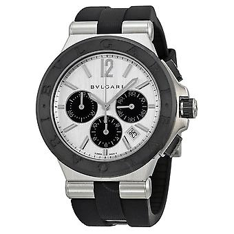 Bvlgari Diagono Silver Dial Black Rubber Men's Watch DG42C6SCVDCH