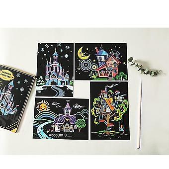 4pcs Diy Cartoon Scratch Postcards Enchanted Scratch Kit
