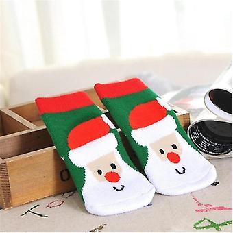 1 Pair Baby Striped Terry Snowflake Elk Santa Socks