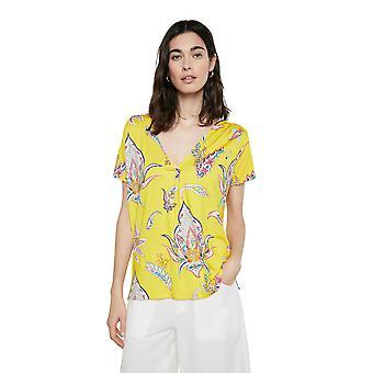 Desigual Lemark Yellow Blue Paisley V-Neck Tshirt SS21 Style 21SWTKD5
