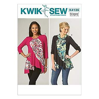 Kwik Sew Sewing Patterns 4136 Misses Tops All Sizes (X-Small-X-Large)