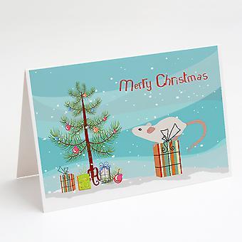 الأبيض المحلية الماوس عيد ميلاد سعيد بطاقات المعايدة وحزمة مغلفات من 8