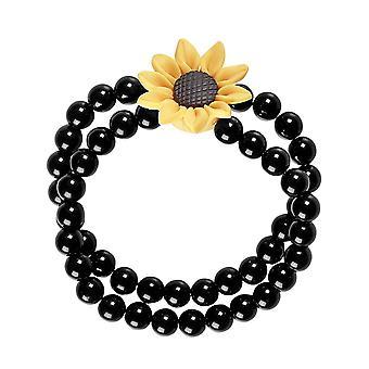 Volwassen zwarte hippie zonnebloem kralen armband