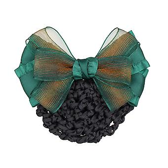 Women Bowknot Net Bun Snood Satin Flower Hair Clip Hair Pin