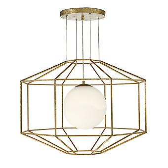 DAR IZMIR Draht Rahmen Anhänger Licht sechseckigen alten Gold Rahmen Opal Glas, 1x E27