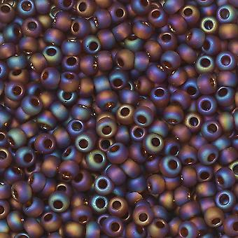 Toho Seed Beads, Round 11/0 #177F 'Transparent Rainbow Frosted Smoky Topaz', 8 Grams