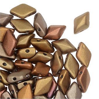 التشيكية GemDuo الزجاج، 2-حفرة الماس على شكل حبات 8x5mm، 8 غرام، قوس قزح الذهب