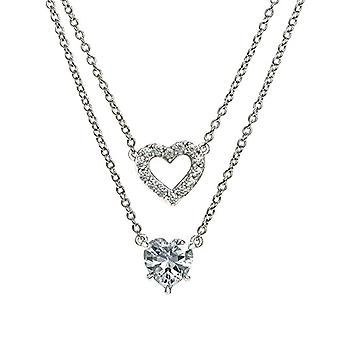 Eye Candy ECJ-NL0062 Women's Collier, in sterling 925 rhodium silver, with 2 pendants with 16 white zircons, 46 cm