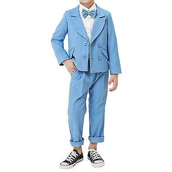 Mile Boy's Double-breasted Striped Two-piece Suit (tops & Pants) Casual Slim Suit For 2-9 Years Old