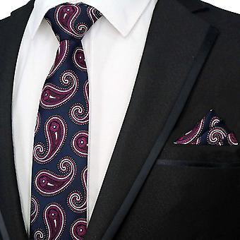 Navy blue & purple paisley necktie & pocket square set