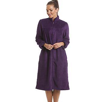 Camille Soft pile Zip viola davanti casa cappotto